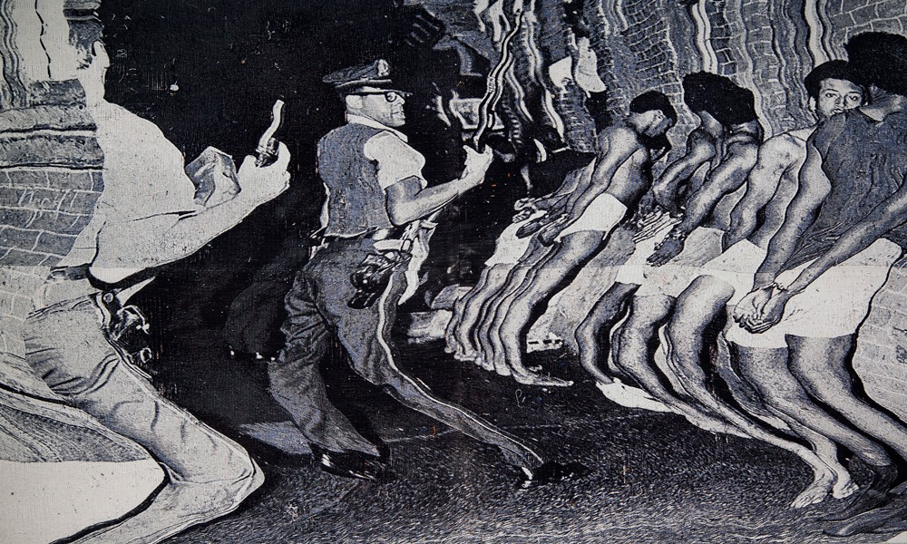 Die Leitung by Noel W. Anderson - black and white image of officers searching men in an alley that has been distorted.