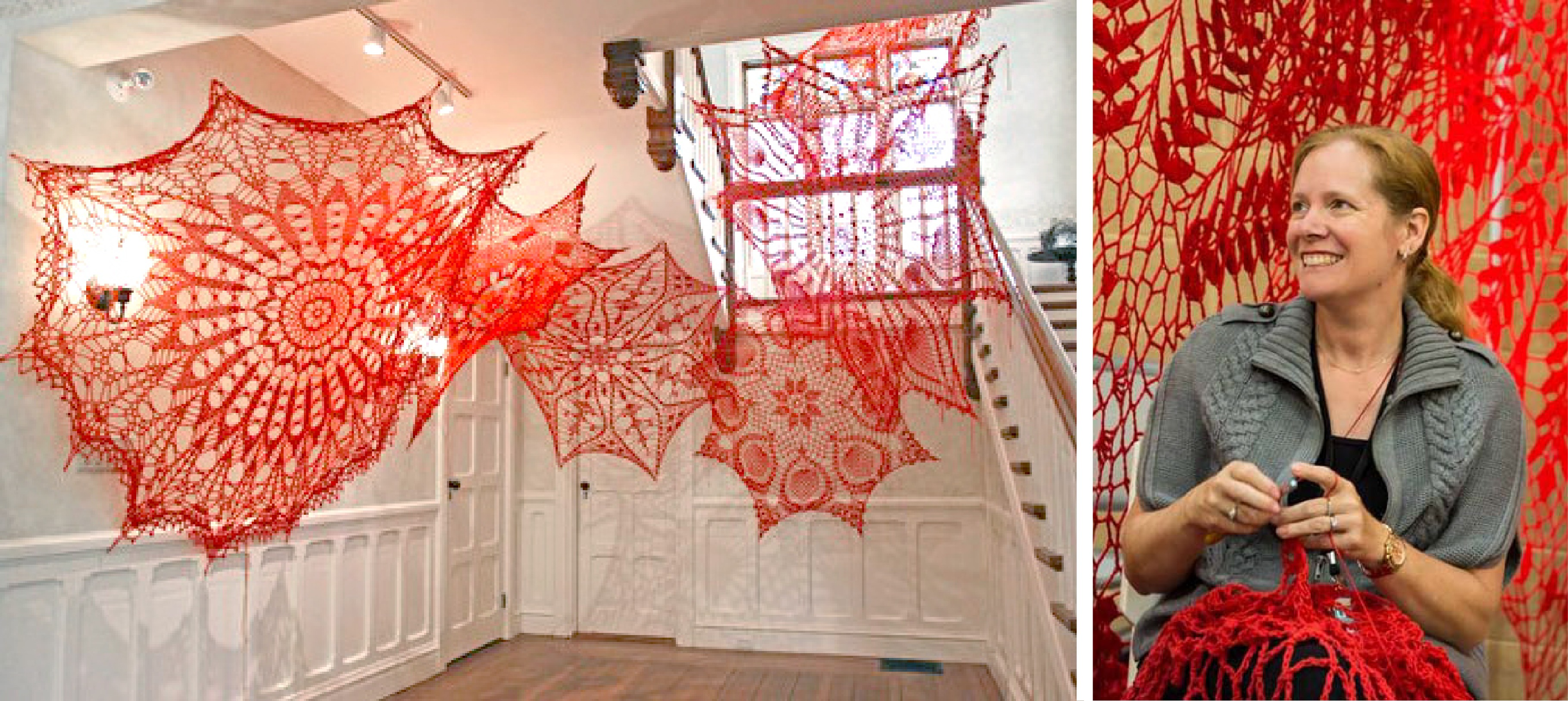 Two pictures are separated by a white line. In the first, large, red doilies drape the walls of a stairwell. In the second, Ashley V. Blalock crochets a red doily.