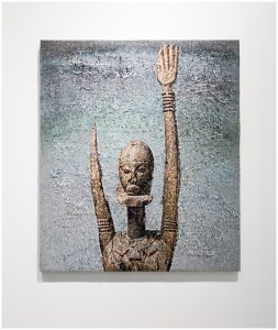Painting of a sculpture of a person with an elongated neck and arm.