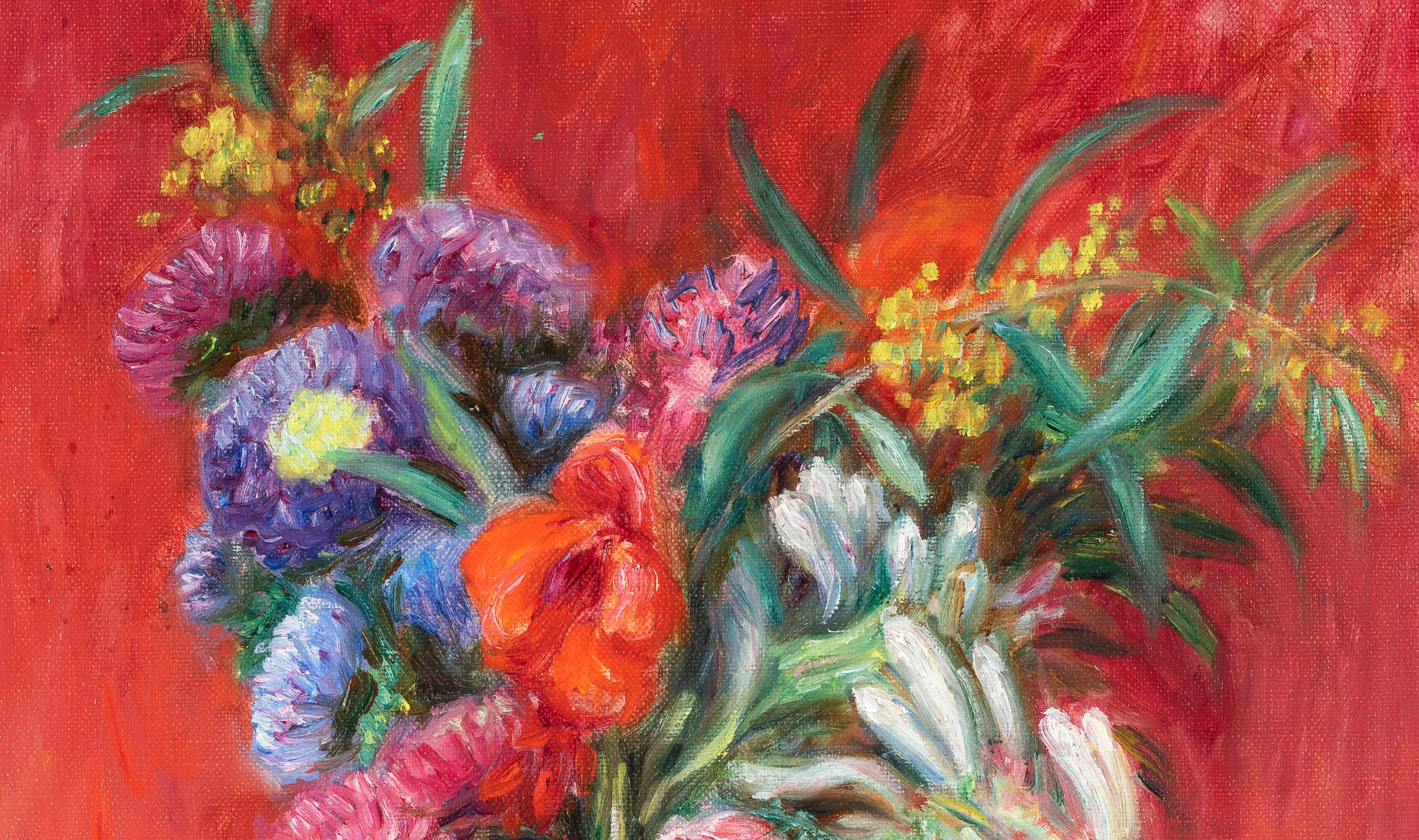Painting of flowers in a vase that captures light and color.