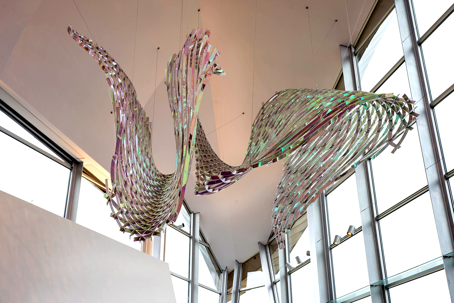 Wavy iridescent sculpture suspended from the ceiling in the lobby of the Hunter Museum.