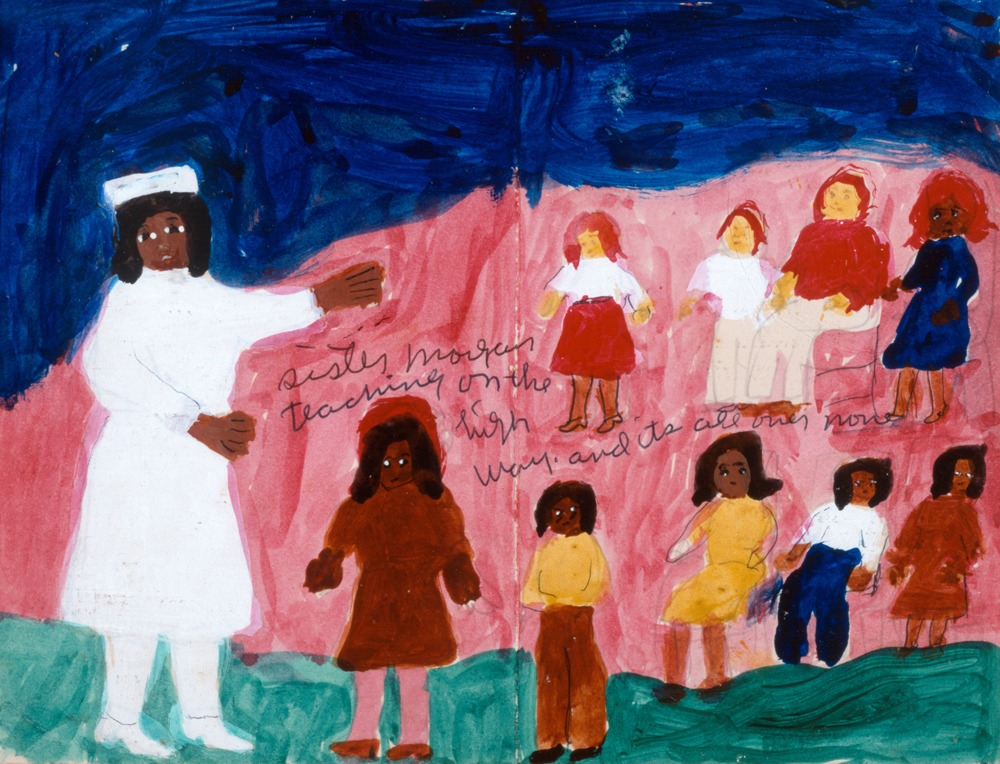 Simplistic painting of a Black woman dressed in white with a white hat. Near her is a row of young Black girls. Above them is a row of young White girls. There is writing on the painting.