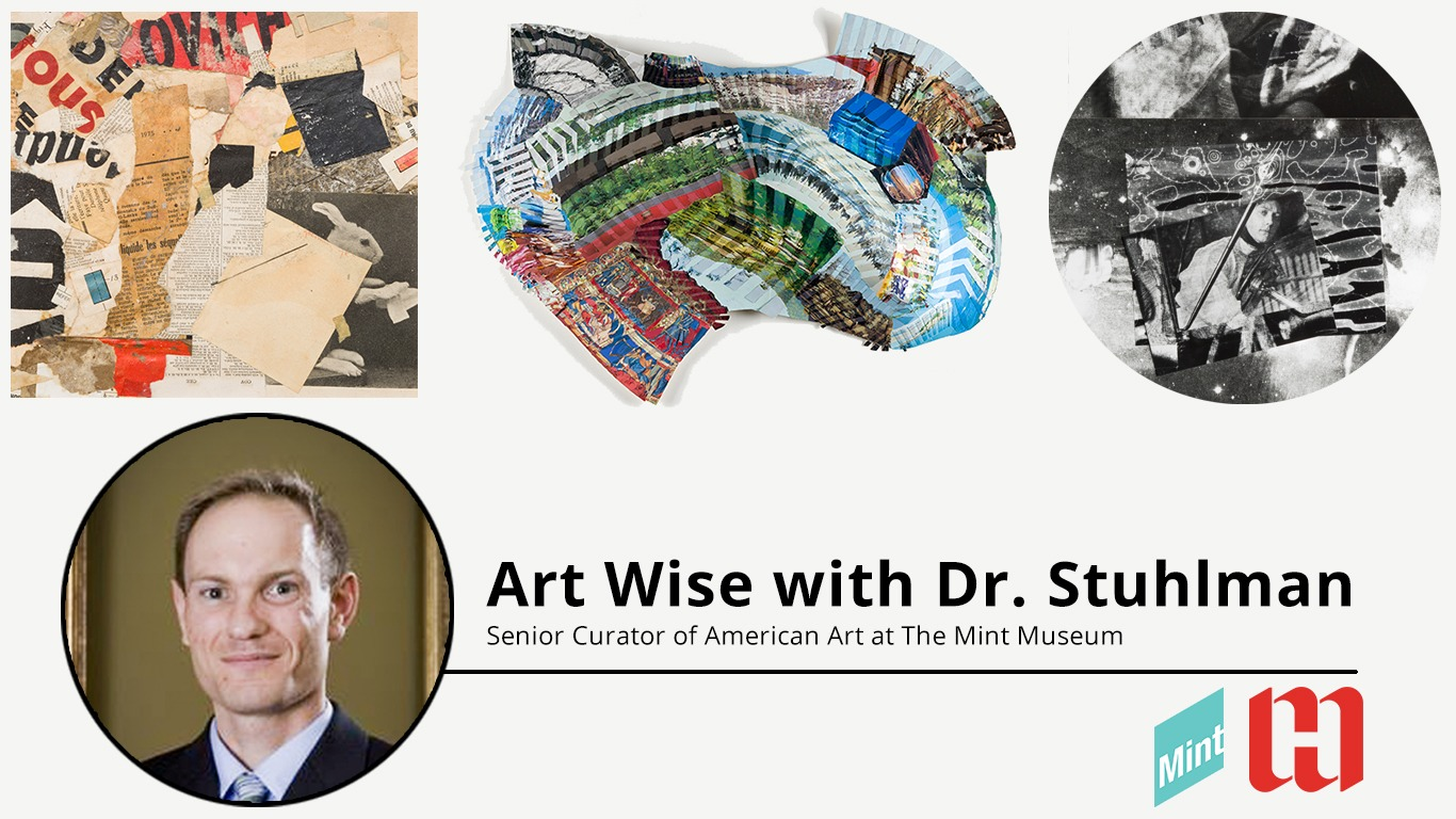 Cover image including three different artworks of mixed media and a headshot of Dr. Stuhlman.