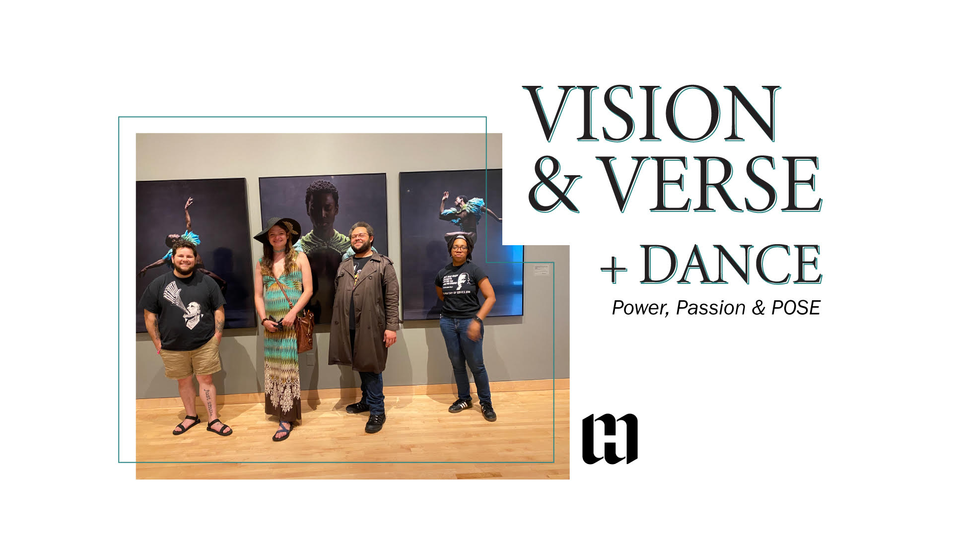 Four people standing in front of photos in the Power, Passion and Pose exhibit.