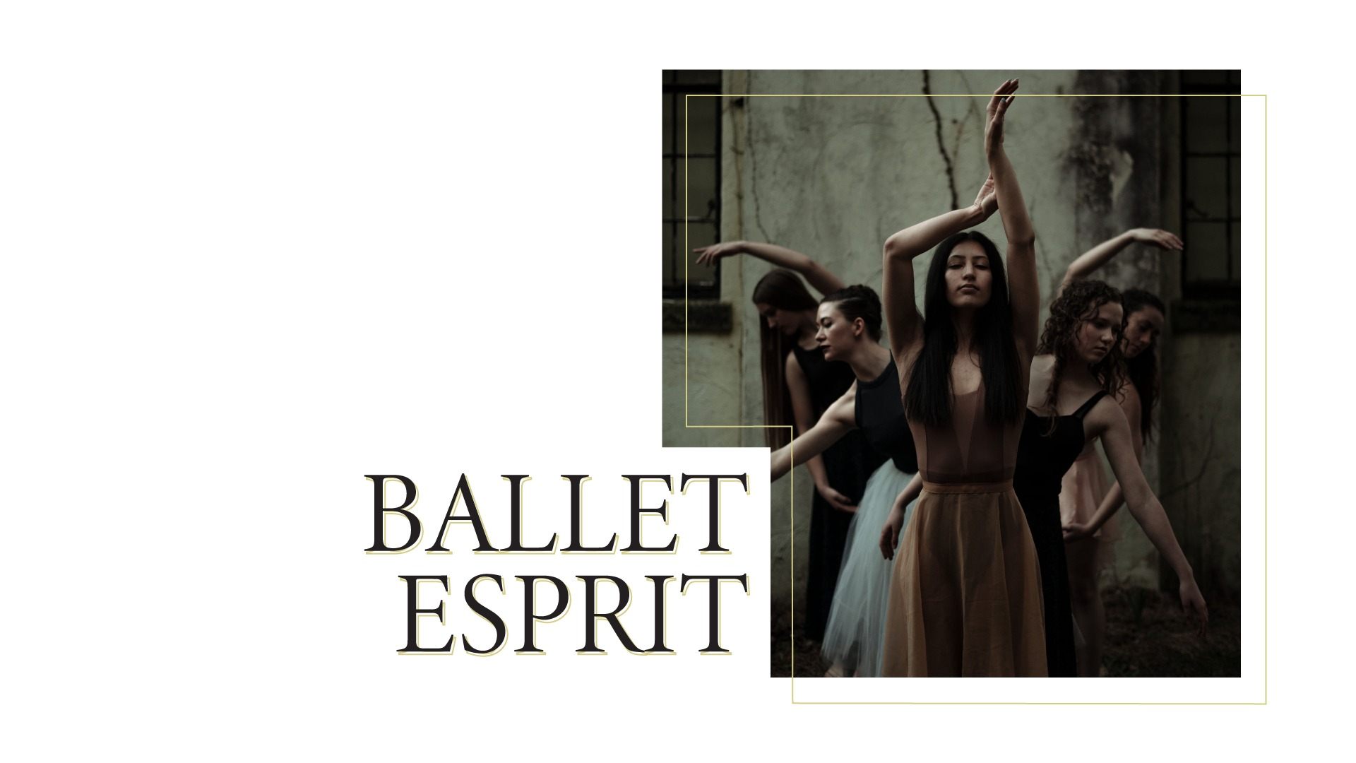 Ballet dancers with their arms overhead leaning on either side of a woman in front.